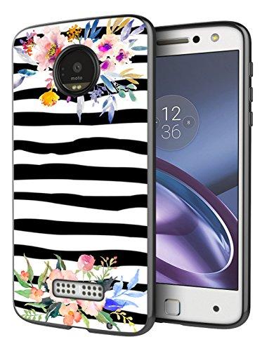 Phone Case for Moto Z Force,Casililor [TPU] [Anti-Slip] Black Premium Slim Protective Zebra Case Cover Compatible for Motorola Moto Z Force Droid Edition - Zebra Watercolor Flowers