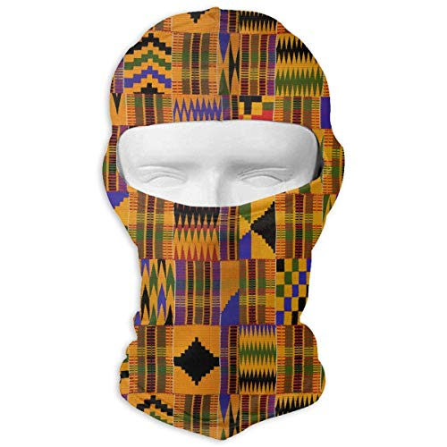 Tesdfk Ghana Kente Cloth Winter Motorcycle Full Face Mask Dust Protection Head Hood for Men and Women ()