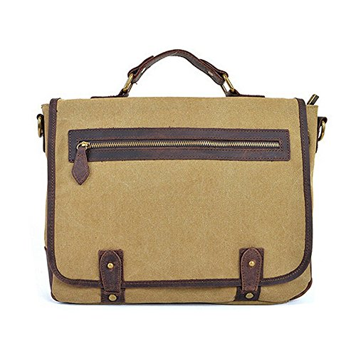 Briefcase Khaki Bag Canvas Shoulder Body Messenger Green Men Cross Laptop Paonies arm Women RwUXRF
