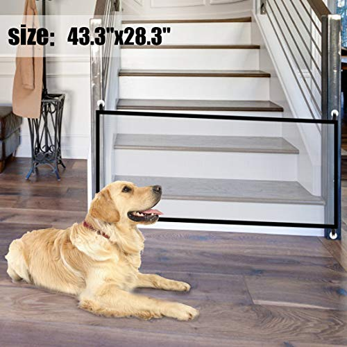 Magic Gate for Dogs 43.3″x28.3″,Baby Safety Gates Pet Safety Gate,Portable Folding Safe Guard Install Anywhere Keep Your Baby and Pets Away from Kitchen and Outdoor