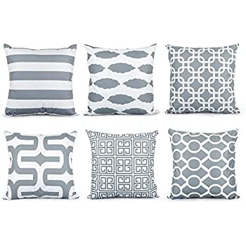 top finel brushed microfiber square decorative throw pillows cushion covers pillowcases for sofa set of 6