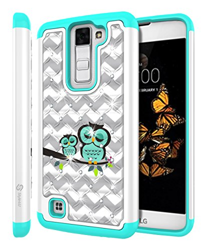 (LG K8 Case, LG Escape 3 Case, LG Phoenix 2 Case, Style4U Cute Owl Studded Rhinestone Crystal Bling Hybrid Armor Case Cover for LG K8 / LG Escape 3 /)