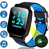Waterproof Fitness Tracker Phone Smart Watch with Heart Rate Blood Pressure Monitor for Men Women Kids 1.55'' IPS Screen Sports Outdoor Watch Calories Pedometer Tracker Music Play for Android iPhone
