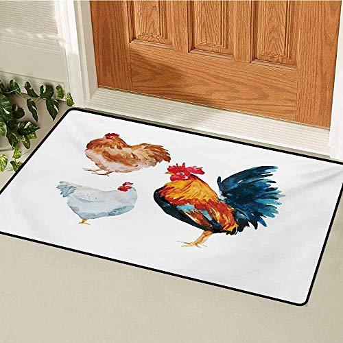 (GUUVOR Chicken Front Door mat Carpet Watercolor Effect Poultry Design with Rooster and Hens Flightless Bird Illustration Machine Washable Door mat W29.5 x L39.4 Inch Multicolor)