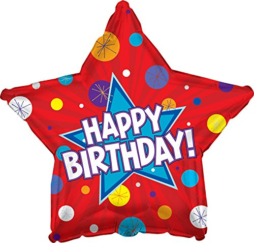 "Creative Converting CTI Mylar Balloons, HBD Dynamic Star, 17"", Red pack of 5"