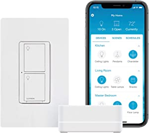 Lutron Caseta Smart Switch Starter Kit | Works with Alexa, Apple HomeKit, and the Google Assistant | P-BDG-PKG1WS | White