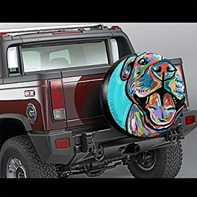Homlife Spare Tire Cover - 17 Inch Waterproof Universal Wheel Tire Cover Protector - Cute Pit Bull Painting Fit for Jeep,Trailer, RV, SUV and Many Vehicle - 4: Clothing