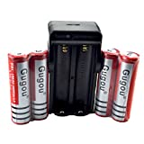 Gugou 4 packs Red 18650 3.7V 5000mAh Rechargeable Low Self-discharge Li-ion ...