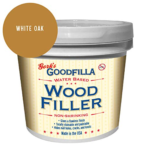 Water-Based Wood & Grain Filler - White Oak - 1 Gallon by Goodfilla | Replace Every Filler & Putty | Repairs, Finishes & Patches | Paintable, Stainable, Sandable & Quick Drying