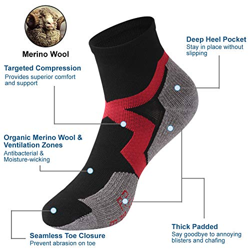 Low Cut Cycling Socks, ZEALWOOD High Performance 3 Pairs Ankle Athletic Running Cushion Sports Socks for Men & Women, 3 Pairs-Black Red Grey by ZEALWOOD (Image #3)