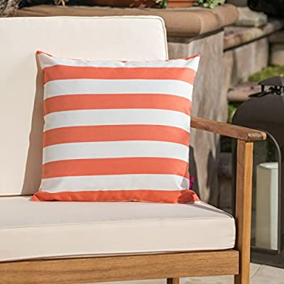 Christopher Knight Home Coronado Outdoor Water Resistant Square Throw Pillow, Orange / White - Add some color to your patio set with this water resistant outdoor pillow Made from top quality fabric that won't absorb every drop of water and dirt, this pillow was designed with both the outdoors and your patio in mind Manufactured in China - patio, outdoor-throw-pillows, outdoor-decor - 51egkZxBGkL. SS400  -