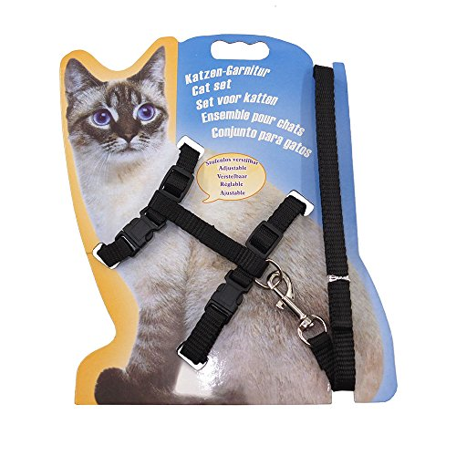 Rella Home Cat Harness and Leash Adjustable Nylon Halter Harness Kitten Nylon Strap Belt Safety Rope Leads (Black)