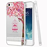 iPhone SE Case, Eouine Cherry Tree with Birdcage Printed Flexible Soft Silicone TPU Case for iPhone SE 5S 5, Scratch-Resistant Protective Case