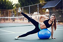 Exercise Ball - 2,000 lbs Stability Ball - Professional Grade – Anti Burst Exercise Equipment for Home, Balance, Gym, Core Strength, Yoga, Fitness, Desk Chairs (Black, 75 centimeters)