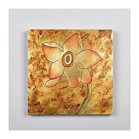 Tableau Deco Fleur 2 Peinture Metallique 30 X 30 X 3 Cm Amazon