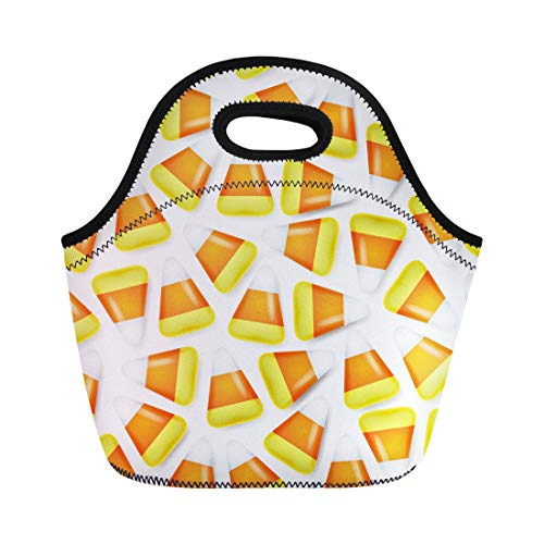 Semtomn Lunch Bags Celebration Orange Autumn Candy Corn Sweets Halloween Symbol Yellow Neoprene Lunch Bag Lunchbox Tote Bag Portable Picnic Bag Cooler Bag ()