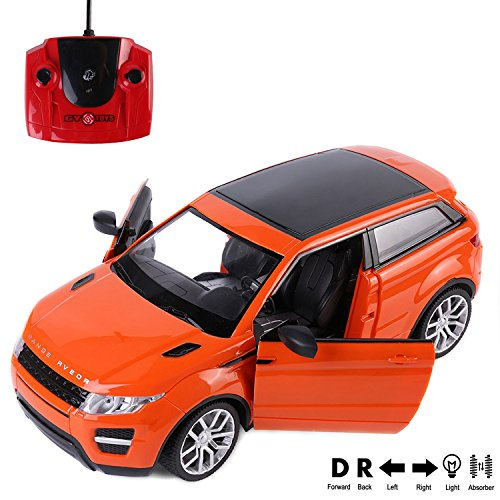 2.4Ghz RC Super Racing Orange Evoque Model [1:16 SCALE] 4 Channel Sound and Lights, Functionable Doors, Panaromic Sun Roof