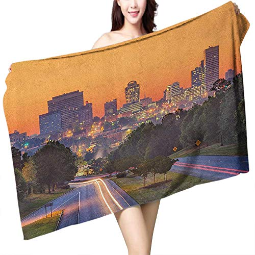 Perfectble Sports Towel United States Skyline of Columbia City South Carolina Main Street Urban Scene W28 xL55 Suitable for bathrooms, Beaches, Parties]()