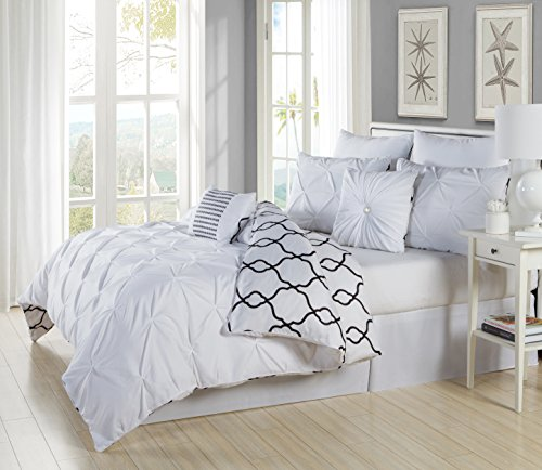 Home Maison Duck River Textiles 8 Piece Esy Reversible Pin Tuck Printed Comforter Set, White, Queen - Reversible Printed