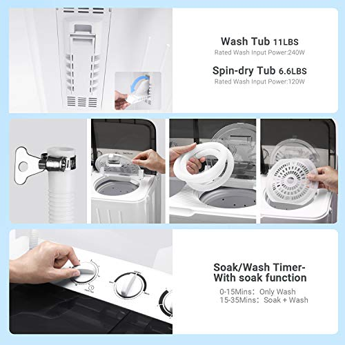 Portable Mini Twin Tub Washing Machine 17.6lbs, Washer(11lbs)&Spinner(6.6lbs), 35 mins MAX Washing Time, with Drain Hose, Inlet Water Hose, For Camping, Apartments, Dorms- TACKLIFE DSBP171