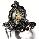 New Necklace Pocket Watch Black Antique Mechanical Skeleton Steampunk Mens Gift Chain