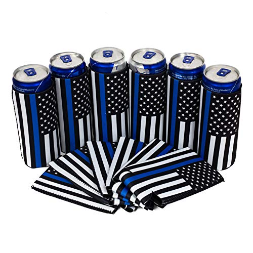 QualityPerfection - Slim Can Cooler Sleeves - Beer Blank Skinny 12 oz Neoprene Coolies - Perfect For 12oz RedBull, Michelob Ultra, Spiked Seltzer,Truly ... (6, Police)