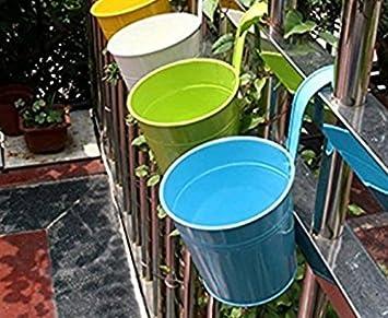 flores artificiales decoraci/ón del hogar de la personalidad Cuenca,Azul Westeng Maceta,Barriles de metal colgantes de colores grandes macetas pueden colgar