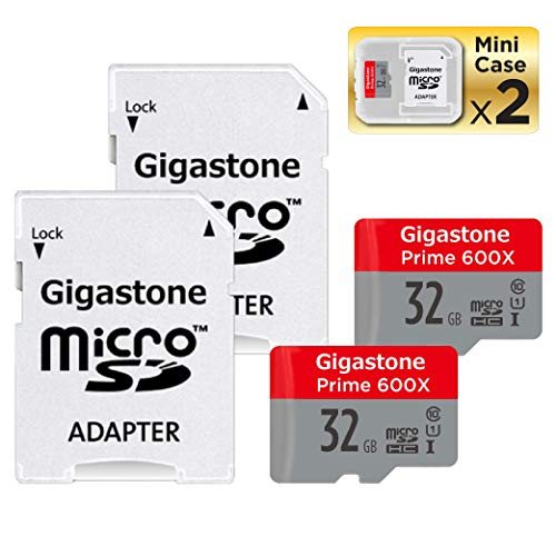 (Gigastone Micro SD Card 32GB 2-Pack MicroSD HC U1 C10 with Mini Case and SD Adapter High Speed Memory Card Class 10 UHS-I Full HD Video Nintendo Switch Dash cam GoPro Camera Samsung Canon Nikon Drone)