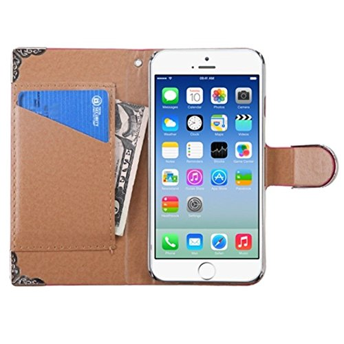 MYBAT Crocodile Skin MyJacket Wallet with Metal Diamonds Buckle and Silver Plating Tray for iPhone 6 - Retail Packaging - Pink/Silver