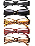 5-Pack Ladies Reading Glasses Includes Sun Readers for Women +1.25