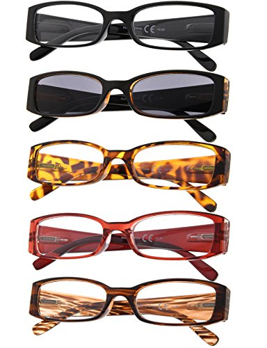 5-Pack Ladies Reading Glasses Includes Sun Readers for Women +1.25 by Gr8Sight