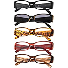 5-Pack Ladies Reading Glasses Includes Sun Readers for Women