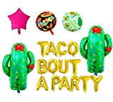 Taco Bout A Party Foil Balloons - 16'' Gold Balloons Banner for Mexican Fiesta Party,Cactus Balloon,Birthday Party or Taco Party Decorations,Baby Shower Balloons