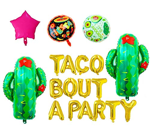 Taco Bout A Party Foil Balloons - 16 Gold Balloons Banner for Mexican Fiesta Party,Cactus Balloon,Birthday Party or Taco Party Decorations,Baby Shower Balloons