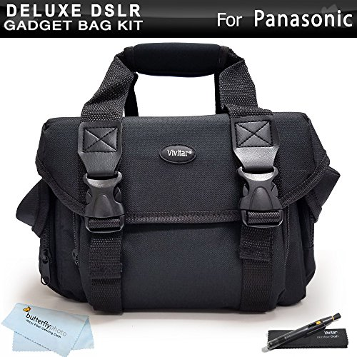 Deluxe Large Digital SLR Gadget Bag / Case for Panasonic Lumix DMC-FZ70, DMC-FZ70K, DMC-GH3K, DMC-G6KK, DMC-GF6K, DMC-GX1X, DMC-GX1K, DMC-GX1, DMC-G5KK, DMC-G5K, DMC-FZ200K, DMC-FZ60K, DMC-LZ30 Digital Camera + Lens Pen Cleaning Kit + Cleaning Cloth by Butterfly