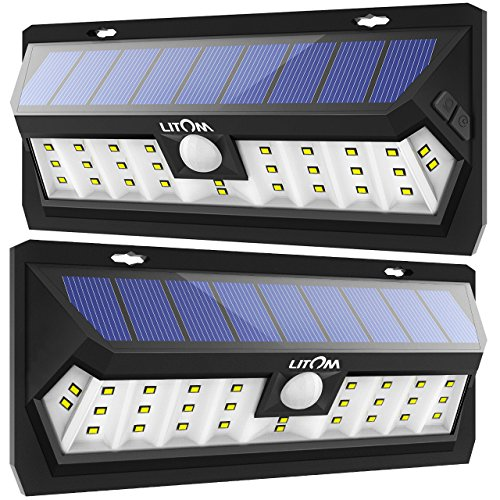 LITOM Solar Lights Outdoor with Adjustable Lighting Time, 30 LED Solar Motion Sensor Lights Wireless Solar Powered Security Lights Waterproof Wall Lights for Garage, Yard, Front Door, Step(2 Pack)