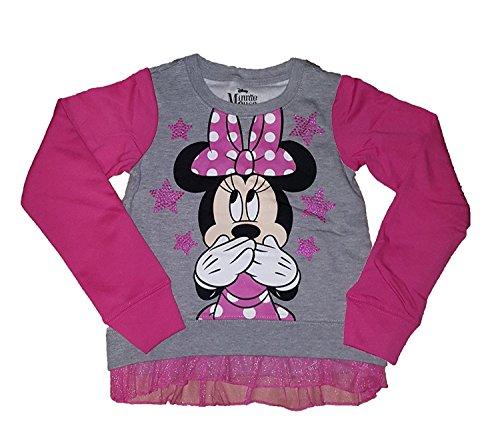 T-shirt Tone Raglan (Disney Minnie Mouse Two Tone Tulle Ruffle Raglan Long Sleeve Fashion Top Tee Shirt- L)