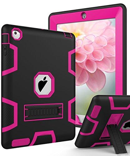 TIANLI iPad 2 Case,iPad 3 Case,iPad 4 Case Three Layer Protection Shockproof Protective with Kickstand iPad 2nd Generation Case/iPad 3rd Generation Case/iPad 4th Generation Case - Black Hot Pink
