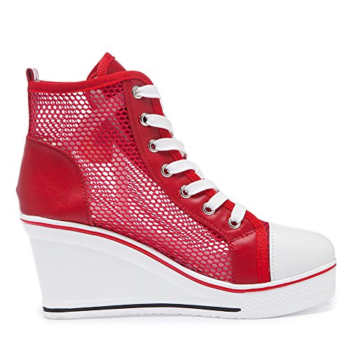 Mode Compensées Chaussures Casuel Rouge Tennis Montante Maille Sneakers Femme Toile Baskets PADGENE 4aEx5wqUg5