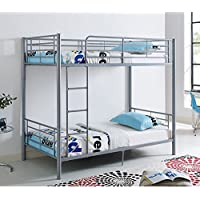 New Silver Twin over Twin Metal Bunk Bed