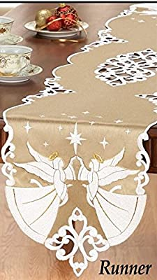 Ángel dorado Halo bordado Navidad camino de mesa: Amazon.es: Hogar