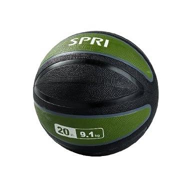 SPRI Xerball Medicine Ball, Olive Green, 20-Pound