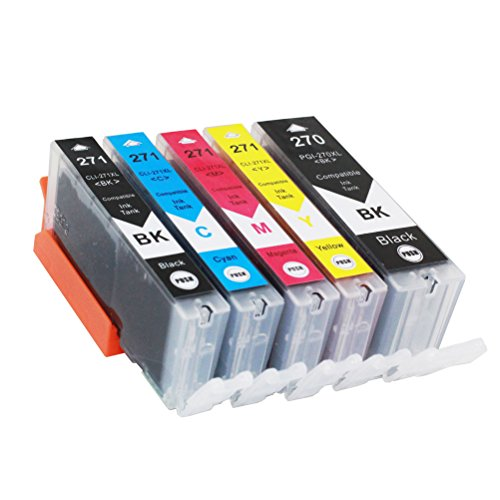 5 Pack Replacement PGI-270XL CLI-271XL Ink Cartridges Compatible Use for Canon Pixma MG5720 MG5721 MG5722 MG6820 MG6821 MG6822 MG7720 TS5020 TS6020 TS8020 TS9020 Printer by AQree