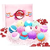 Rosy Lux Bath Bombs 12 Scents with Dried Rose Petals (1 pack)- Bubble and Spa Bath with Essential Oils for Skin Moisturization, Relaxation, Health Benefits, Perfect Bath Bomb Gift for Women