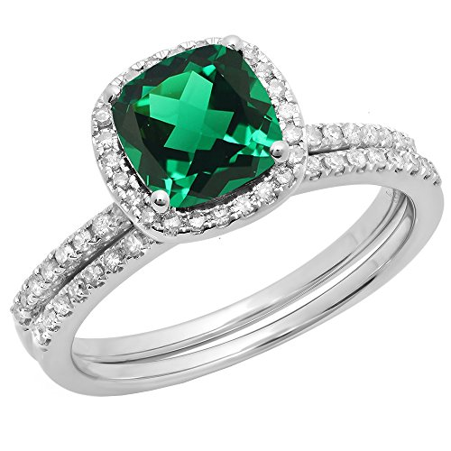 Dazzlingrock Collection 14K 7 MM Cushion Lab Created Emerald & Round Diamond Wedding Ring Set, White Gold, Size 8