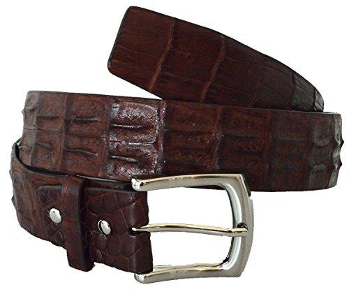 Authentic River Crocodile Skin Men's Double Rows Hornback Pin Belt ()