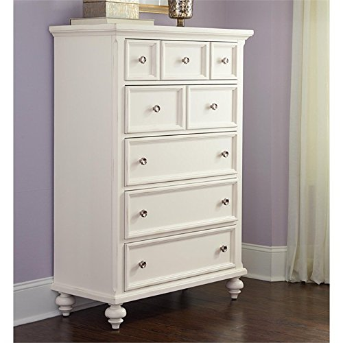 American Drew Lynn Haven 5 Drawer Wood Chest in White -