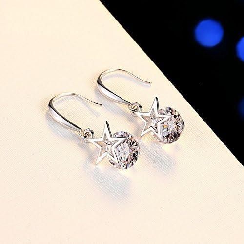 Emorias 1/paire /él/égant Charming /étoile Boucles doreilles cr/éoles pendantes Plaqu/é argent sterling Cristal Boucles doreilles