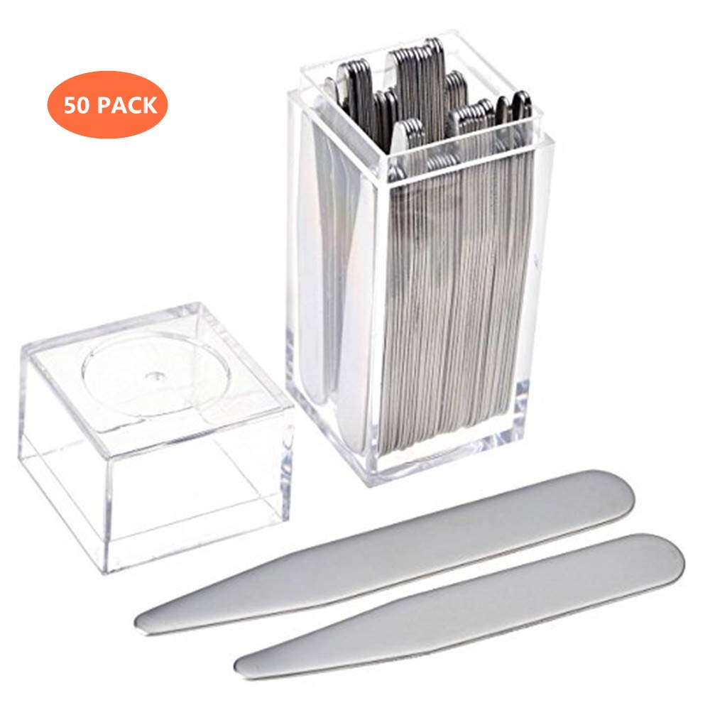 50 pcs Stainless Steel Collar Stays in Clear Plastic Box For Men's Shirts(3 different sizes set)