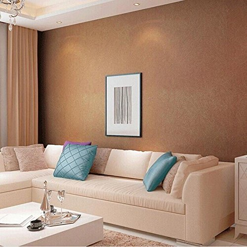 CWJ Natural Silk Wallpaper Plain Solid Nonwoven Wallpaper Living Room Bedroom TV Sofa Background Wall Paper,Gold copper,a roll by CWJ